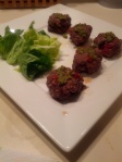 Sun-dried tomato meatballs with pesto sauce